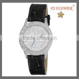Gorgeous Black Leather Bracelet Dazzling Watches Ladies Japan Quartz Movement Watch