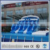 2015 hot sale bulk plastic balls inflatable water slide with pool for children