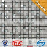 JY-Mx-GS04 2014 mirror glass drawing metal mosaic tile with gray marble chip for interior decoration