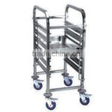 Single-line 6 trays Stainless steel Gastronorm Rack Trolley