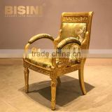 Luxury New Design Baroque Style Living Room Velvet Gilt Armchair/Louis XV Royal Gilded Hand Carved Armchair, MOQ 1 PC
