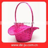 Red Dying Bamboo Long Handle Handicraft Basket