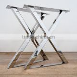 INQUIRY ABOUT Best quality furniture stainless steel polishing finished X shape wood table leg