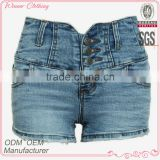 Best selling women fashion high waist buttoned slim fitting plain dyed worn hem jean short pants