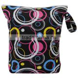 New design baby Cloth diaper zipper wetbag,washable and reusable double pocket cloth nappy bag