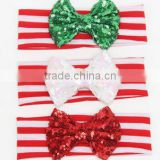 large sequin glitter bow striped elastic 'bandage for baby girls and boys christmas hair bows the' Hair band