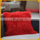 Luxury colorful mongolian fur plush emoji pillows mongolian lamb fur pillow
