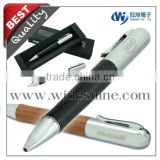 Latest Corporate Gifts leather pen usb flash drive with Metal leather ball pen for giveaway gift