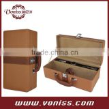 One Bottle Satin-Lined Luxury Wine Case / Box / Holder Made with Faux Leather and Easy Open-Close Clasp
