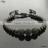 2016 Lastest 6mm Black Macrame Beads Bracelet Beads With Three Balls With TOP BEST PVD Plating