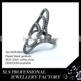 Turkey trendy jewelry white stones black gold plated rings for ladies ----SLS jewelry