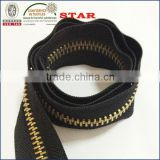 Metal zipper roll with gold brass teeth for sale cheap