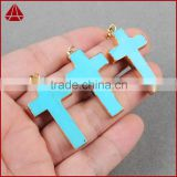 Gem Stone Cross Healing Chakra Pendant Charms Jewelry Natural Howlite turquoise Stone Pendant
