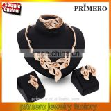 Women's Fashion 18K Gold Plated Rhinestone Flowers Pendant Wedding Jewelry Sets For Bridal