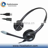 Binaural call center mini usb headset for laptop/computer with noise cancelling microphone