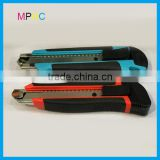 High Quality Thick ABS TPR handle Auto Lock Retractable 18mm carbon steel Blade Box Cutter Knives