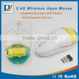 Rechargeable promotional gifts wireless mouse wth liquid and floater inside