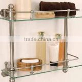 Bathroom Shelf wall mounted 2-tier tempered Glass Shelves with rails Bathroom Accessories
