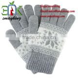Fashion Acrylic Knitted Adult winter Touch screen Gloves for smart phone