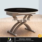 Adjustable Height Coffee Table Furniture Round Glass Cross Leg Dining Table