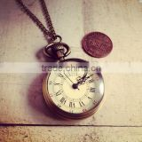 Old English Grandfather style Simple Round Antique Bronze Round Pocket Watch Necklace Pendant