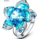 Rhodium Plated Blue Crystals Flower Statement Ring