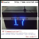 HOT products Outdoor P10-16x32 blue color monochrome RF wireless communication two side LED message display