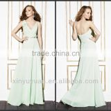 New Arrival Elegant A-Line Floor Length Spaghetti Straps Mint Green Chiffon Bridesmaid Dress 2014/Evening Dress C0011