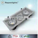three head 15w*3 square frame wall lamp led emergency light heatsink dimmable led downlight
