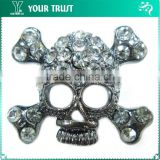4MM Crystal Rhinesone Skull Head Plating Gunmetal Pin Rhinestone Brooches