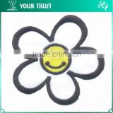 Yellow Smiling Black Flower White Twill Fabric Embroidery Clothing School Uniform Patches