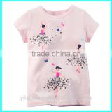 New arrival pink color toddler t-shirts cotton,toddler t-shirts Ballerina baby girl t-shirts