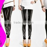 NEW Spring Nightclub Black Rock Punk Retro Stitching Rivet Ninth Pants Women leggings fashion 2015 Sex Slim Leggings VQ522