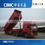 CIMC brand 2 or 3 axles 24 cbm rear end dump truck semi trailer with HYVA hydraulic lift cylinder