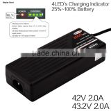 High performance lithium iron battery smart charger 42V electric scooter smart charger 4LED`s battery indicator