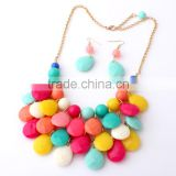 Beach Style Jewelry Sets Colorful Round Shell Stone Multi Layer Tassel Necklaces Same Shape Dangle Earrings Sets For Bohemia