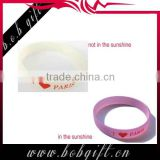1 inch UV discoloure silicone wristbands/ discolouration design rubber wristbands