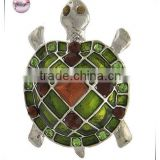 Rhodiumized / Green Epoxy & Brown Rhinestone / Lead Compliant / Sea Life / Turtle Brooch