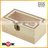 Custom made birch wood gift boxes with window