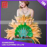 carnival costumes samba Hot sale beaded brazil feather headdress party costume for carnival CC012