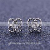 Rope knit cross oxidized sterling silver post earrings simple 925 sterling silver earrings FE269