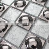 SMG04 elegant silver foil wallpaper hand cut wall tile design picture silver mosaic waterproof glass mosaic wall