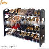 20 pairs free standing 4 tier shoe shelves, space saving,can add stands or nonwoven cover FH-SR00641