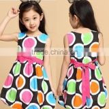 HOT Children Bowknot Colorful Big Polka Dots party dresses for 3 year old girl