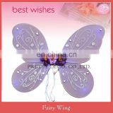 Wholesale purple color Glitter printing with ribbon flower kids butterfly fariy wing