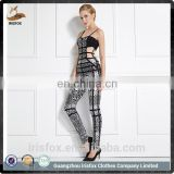 jumpsuit silver printed hollow out backless one piece women jumpsuit