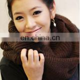 2016Winter Autumn Warm Knit Neck Pure Color Circle Blend Cowl Snood Long Scarf Shawl Wrap