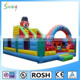 happy clown inflatable obstacle course for interactive game