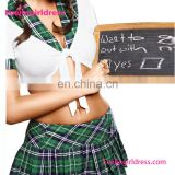 Wholesale T-shirt With Grid Skirt Sexy School Girl Costume Photos