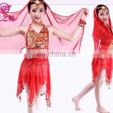Indian stage professional lovely children belly dance costume with five flowers top and skirt ET-002#